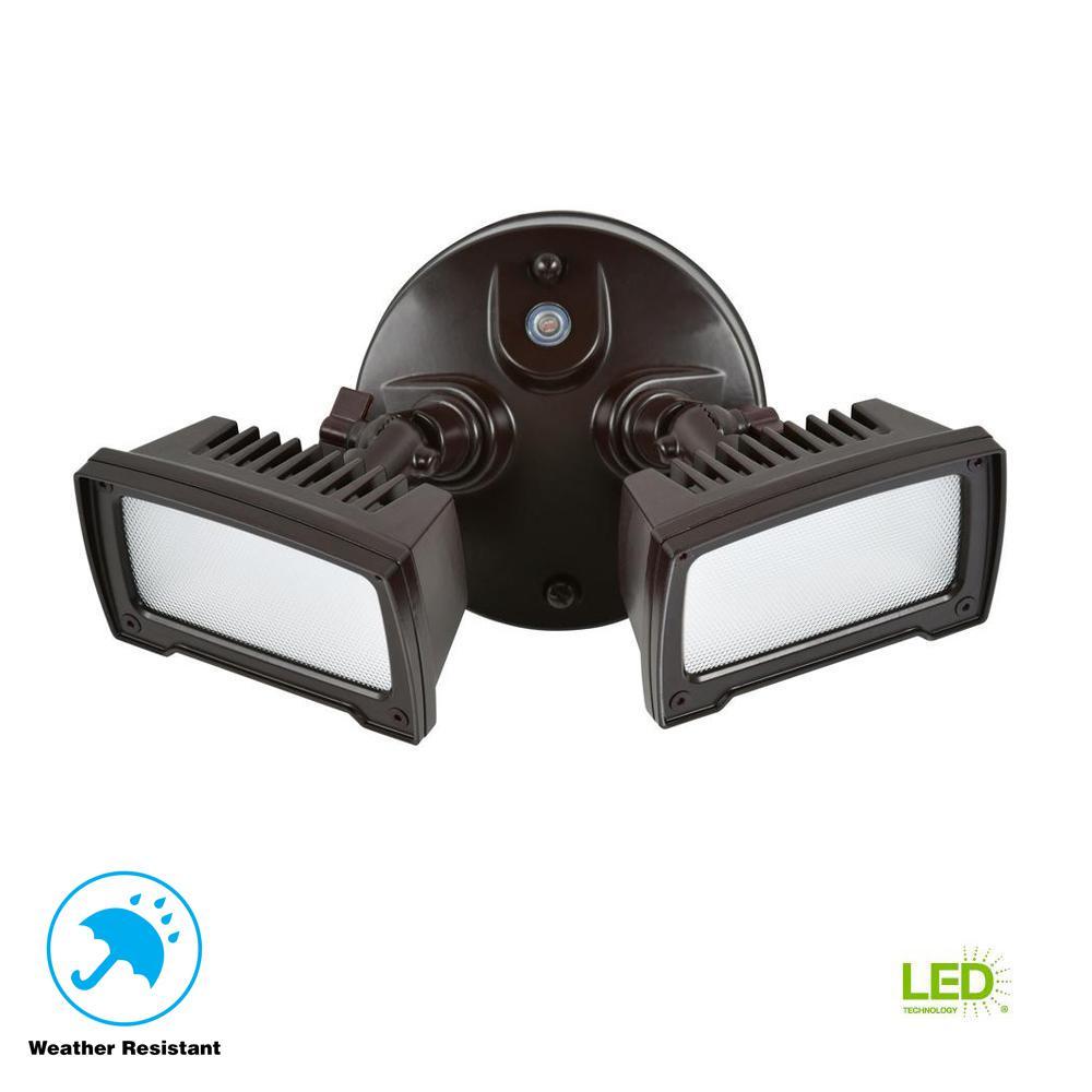 36-Watt Bronze Dusk-to-Dawn 2-Light Outdoor Integrated LED Flood Light Wall/Eaves Mountable