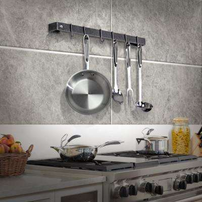 Handcrafted 24 in. Wall Rack Utensil Bar with 6-Hooks Hammered Steel