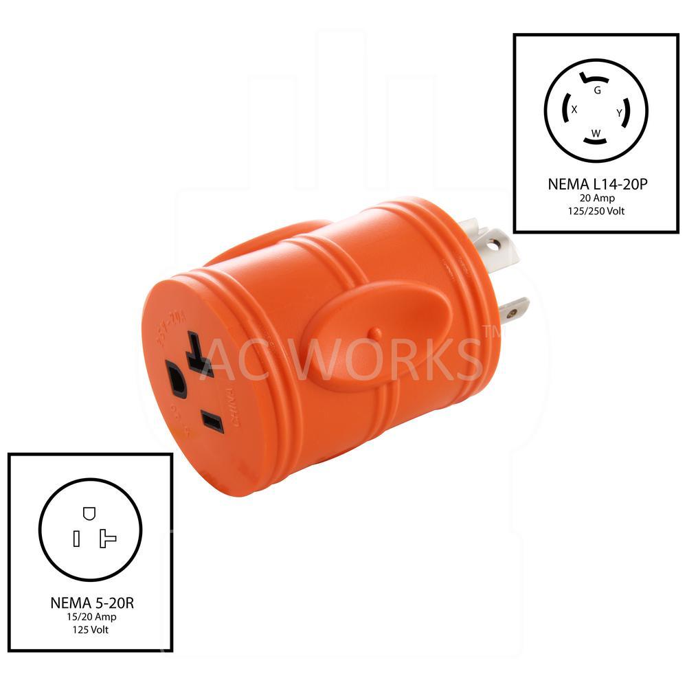L14 20P locking male plug 4 prong 125 250 Volt 20 amp  yellow nylon FREE SHIP