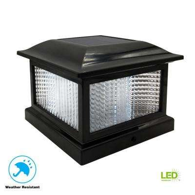 5.5 in. x 5.5 in. Outdoor Black Solar Integrated LED Plastic Post Cap Light with 3.5 in. x 3.5 in. Adaptor (2-Pack)