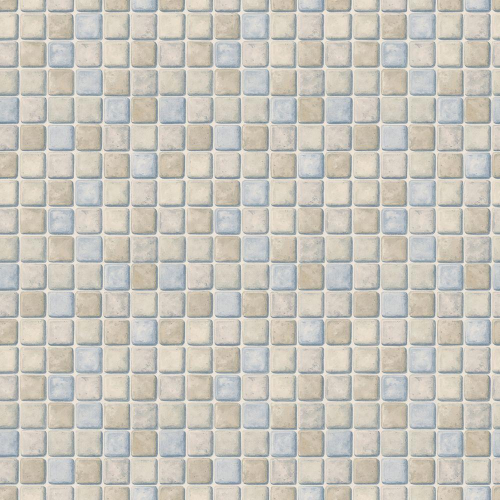 The Wallpaper Company 56 sq. ft. Neutral Tile Wallpaper