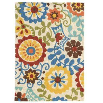 Trio Ivory/Blue 5 ft. x 7 ft. Indoor Area Rug