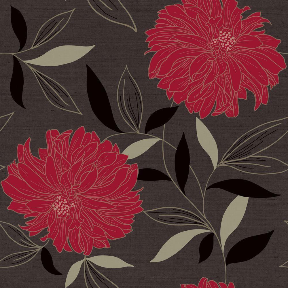 The Wallpaper Company 56 sq. ft. Peony Charcoal/Red Wallpaper