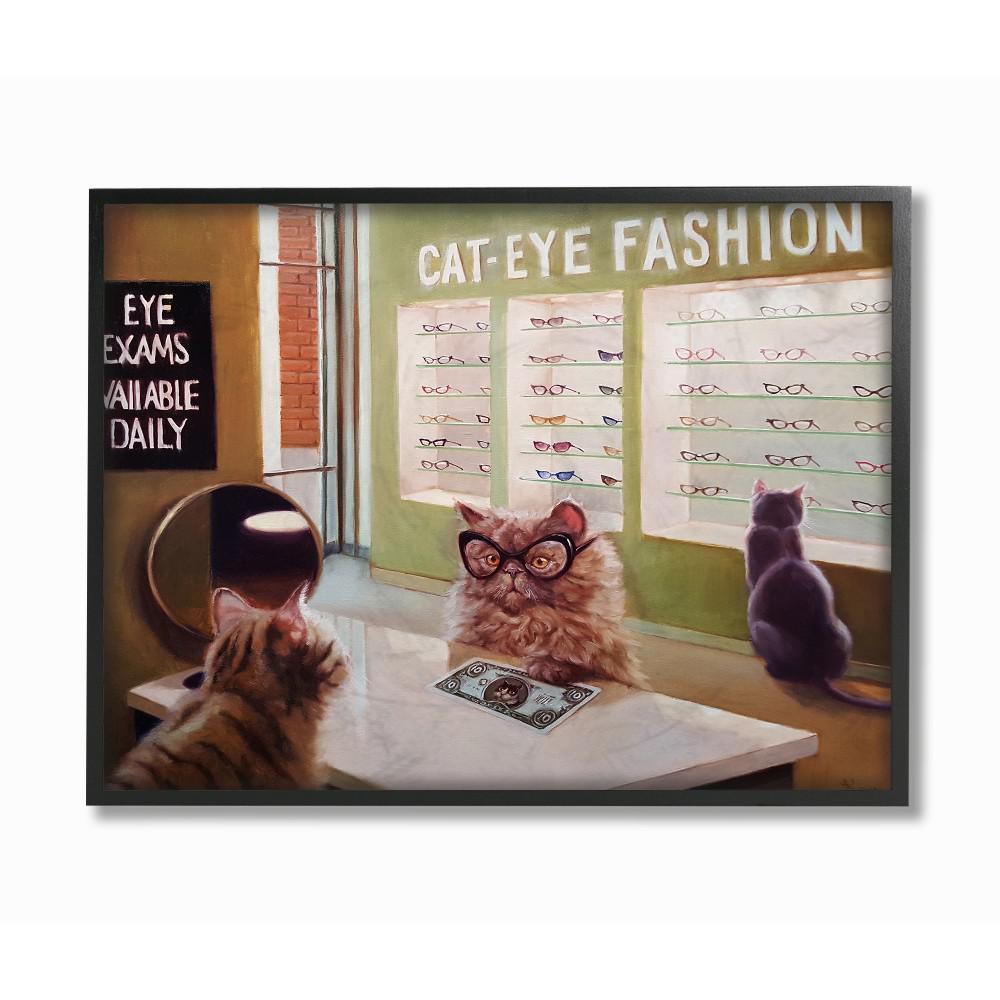 11 in. x 14 in. ''Persian Cat Eye Glasses Exam Funny Painting'' by Artist Lucia Heffernan Framed Wall Art