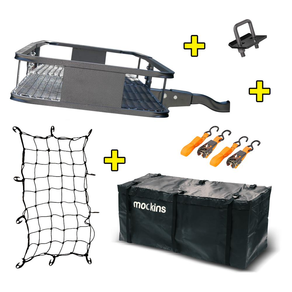 Mockins 500 lbs. Capacity Hitch Mount Cargo Carrier Set w/ Folding Shank and 2 inch Raise, Cargo Bag, Net and Ratchet Straps