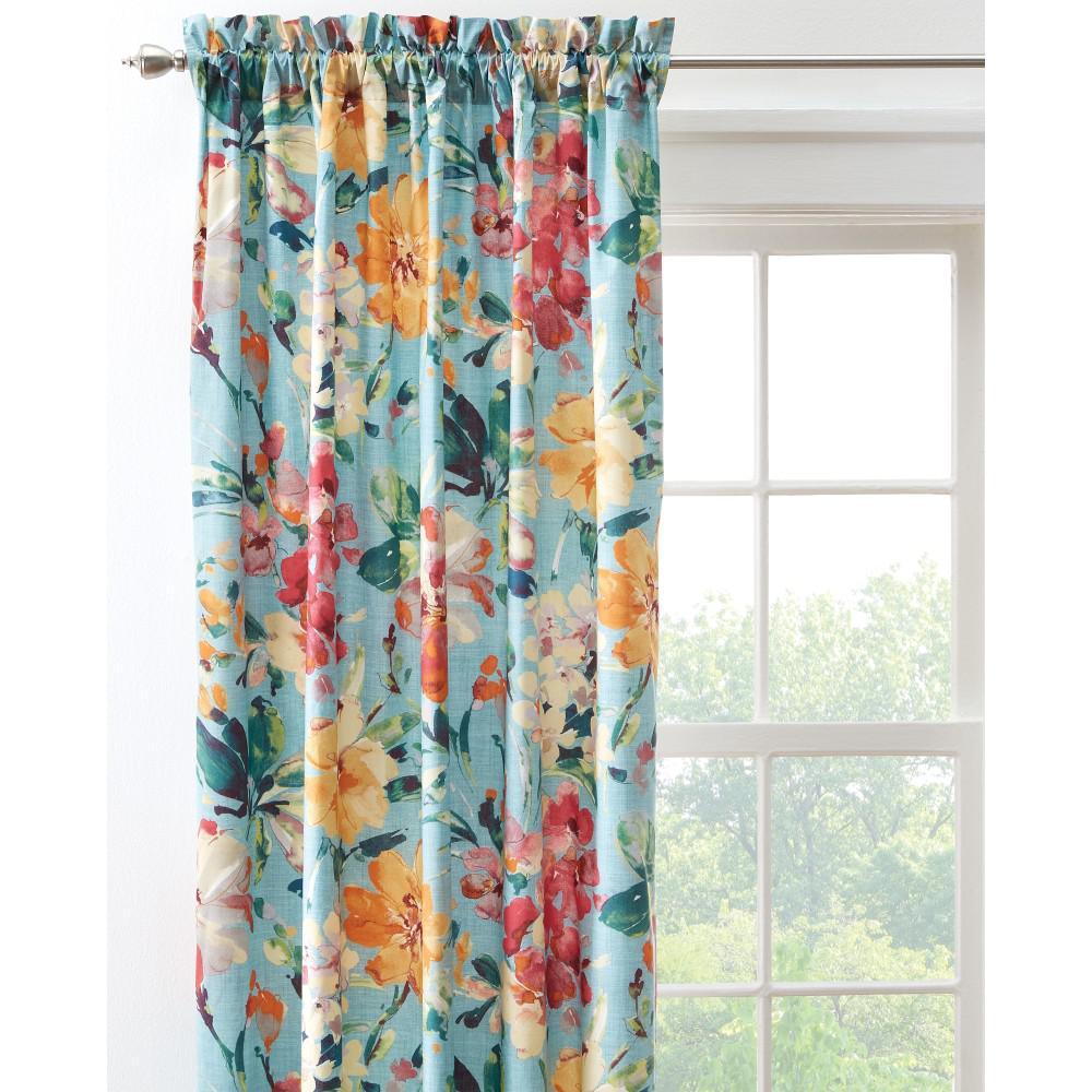 Home Decorators Collection Semi-Opaque Garden Bloom 108 in. L Cotton Drapery Panel in Blue Multi