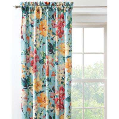Semi-Opaque Garden Bloom 108 in. L Cotton Drapery Panel in Blue Multi
