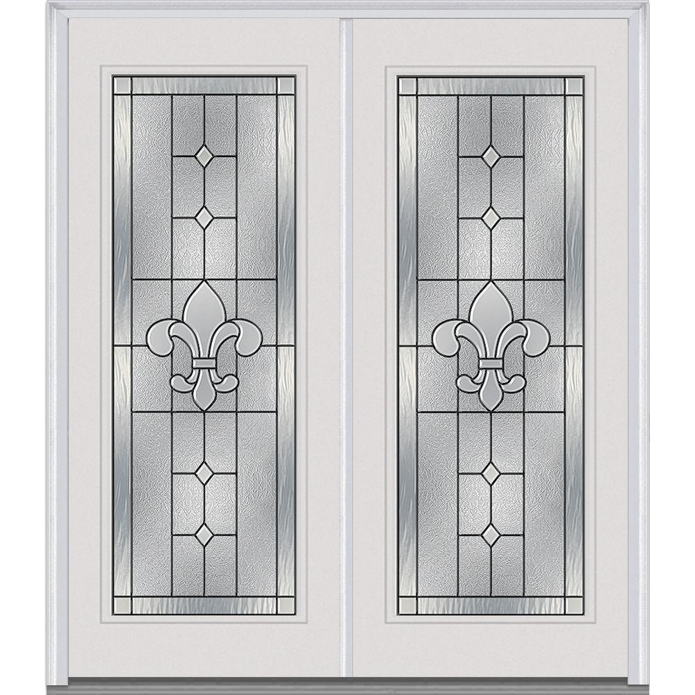 Mmi door 66 in x in carrollton decorative glass full lite painted fiberglass smooth for Exterior double front doors with glass