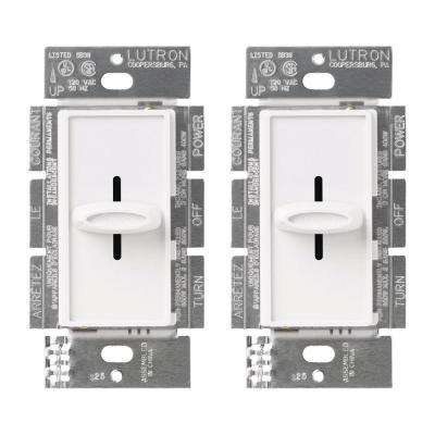 Skylark 600-Watt Single-Pole Slide-to-Off Dimmer - White (2-Pack)