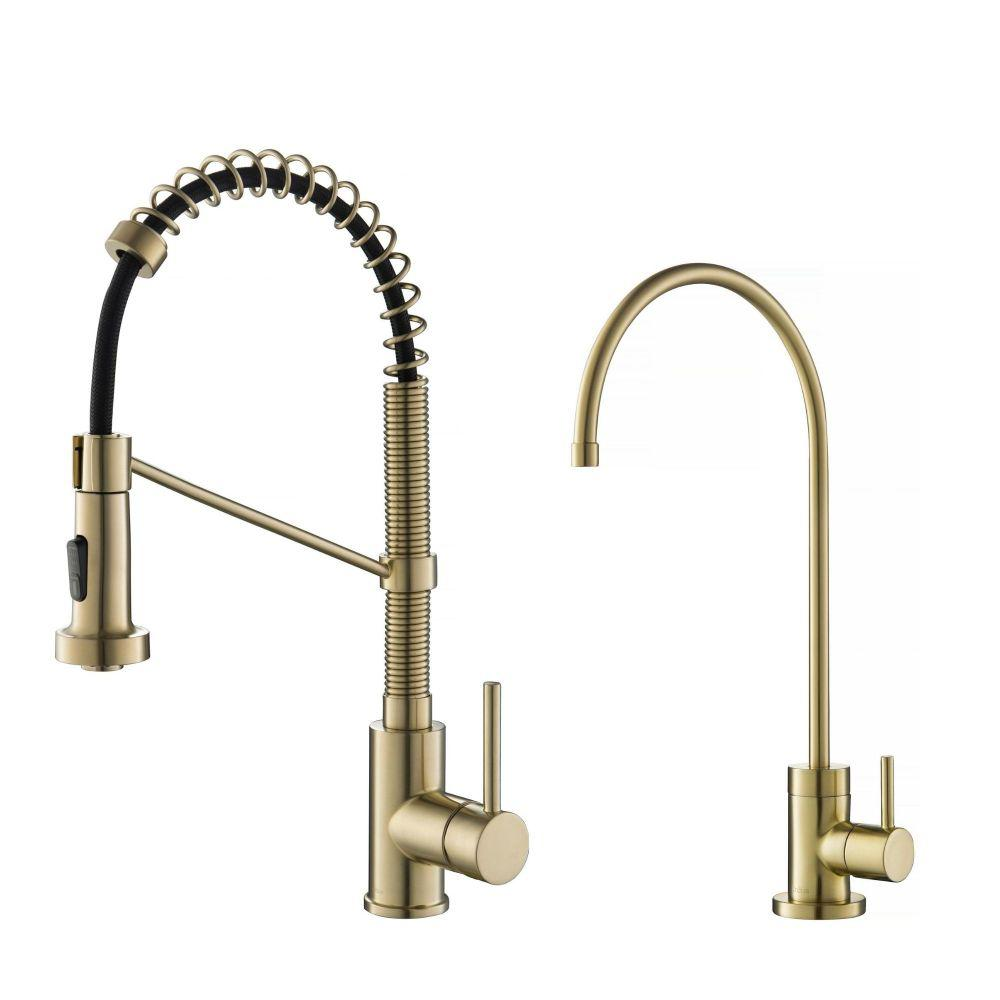 Bolden Pull-Down Kitchen Faucet and Purita Water Filter Faucet Combo in Spot Free Antique Champagne Bronze Finish