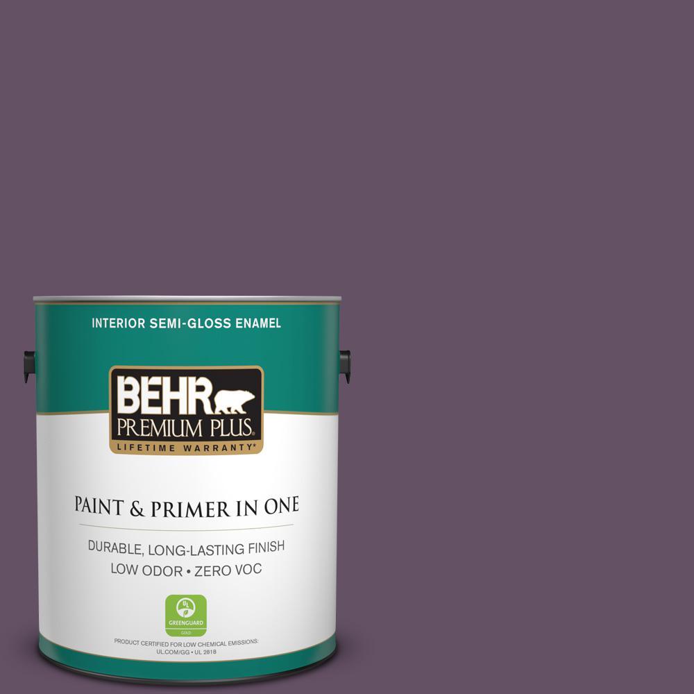 1 gal. #PPU17-05 Preservation Plum Zero VOC Semi-Gloss Enamel Interior Paint