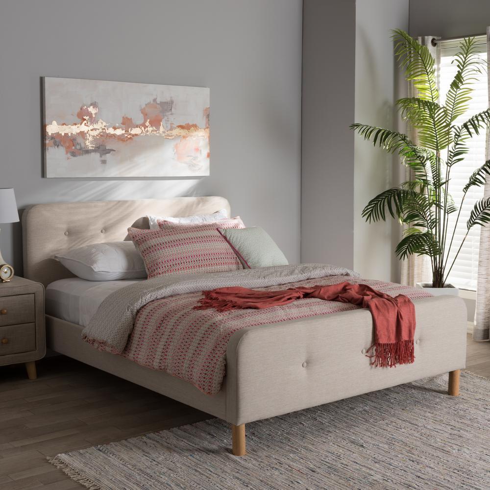 Samson Mid-Century Beige Fabric Upholstered Queen Size Bed