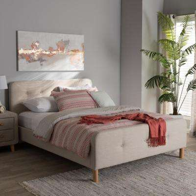 Samson Mid-Century Beige Fabric Upholstered King Size Bed