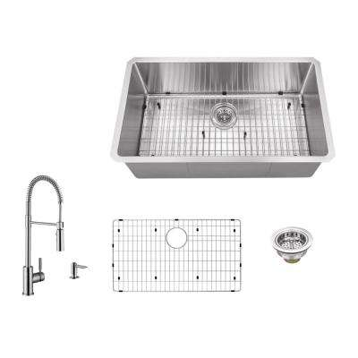 All-in-One Undermount Stainless Steel 32 in. 0-Hole Single Bowl Radius Kitchen Sink with Faucet
