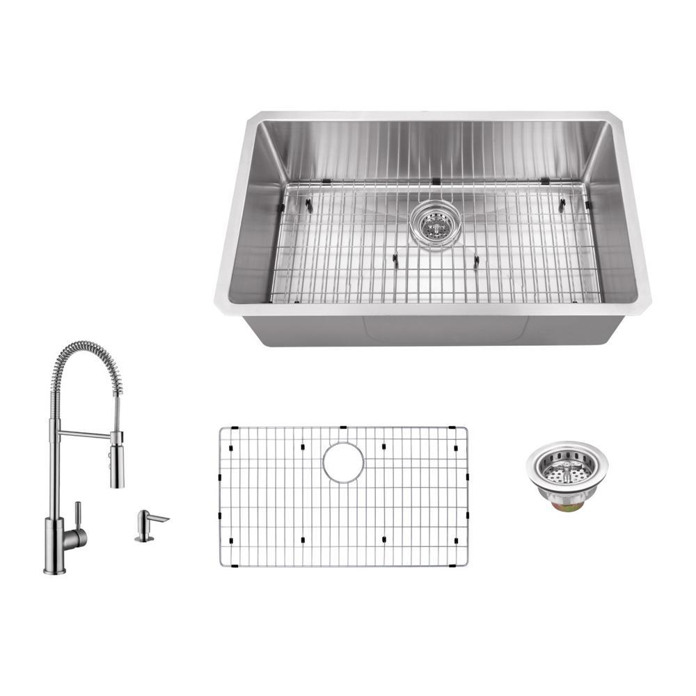 IPT Sink Company Undermount 32 in. 16-Gauge Stainless Steel Single ...