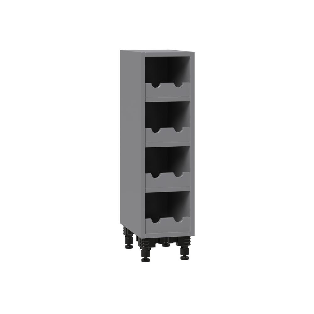 J COLLECTION Shaker Assembled 9 in. x 34.5 in. x 14 in. Base Wine Rack with Matching Interior in Gray