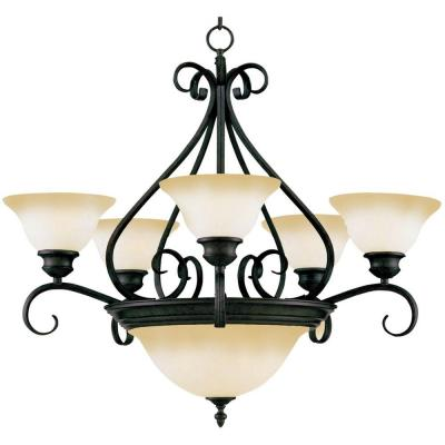 Pacific 7-Light Kentucky Bronze Chandelier With Wilshire Glass Shade