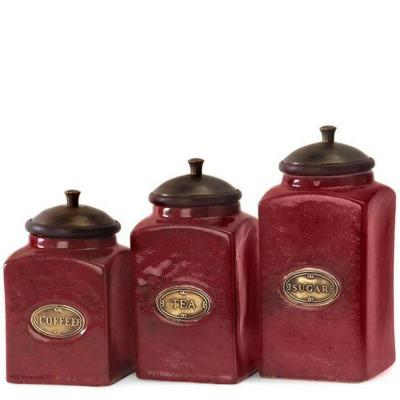 Assorted Sizes Red Wood Top Ceramic Canister (Set of 3)