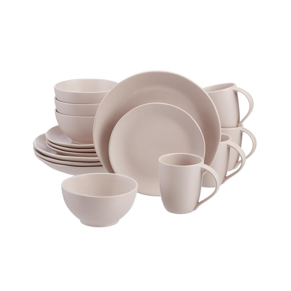 Deals on Brea 16-Piece Ballet Beige Stoneware Dinnerware Set
