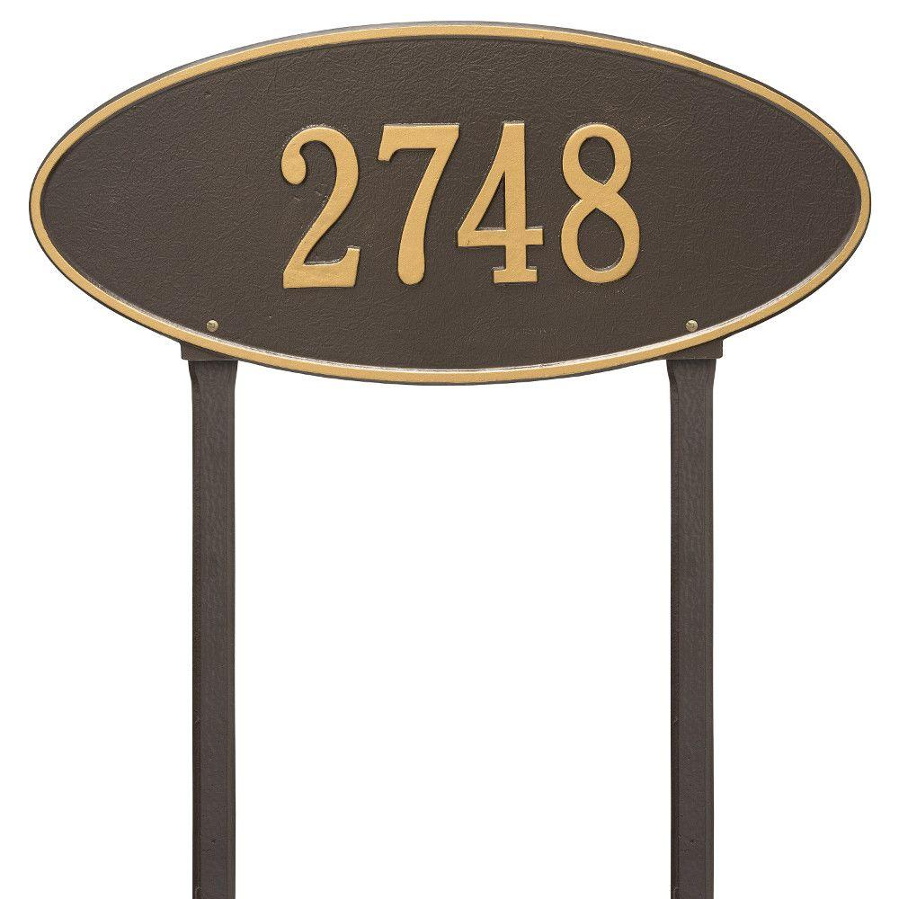 Madison Estate Oval Bronze/Gold Lawn 1-Line Address Plaque