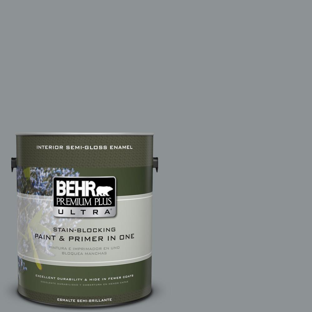 1 gal. #PPU26-05 Flint Gray Semi-Gloss Enamel Interior Paint
