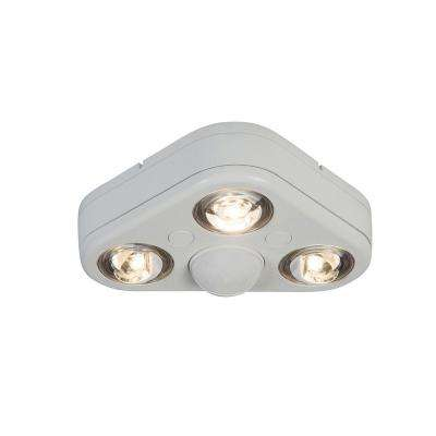 Revolve 270-Degree White Triple Head Motion Activated Outdoor Integrated LED Security Flood Light at 5000K Daylight
