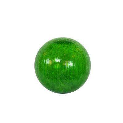Small Green Crackled Glass Ball with LED Lights