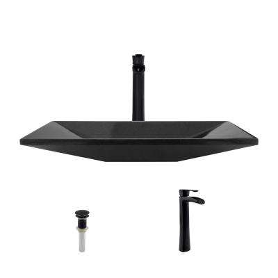 Stone Vessel Sink in Shanxi Black Granite with 731 Faucet and Pop-Up Drain in Antique Bronze