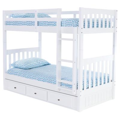 Casual White Collection White Twin OverTwin Bunk Bed with 3-Drawers