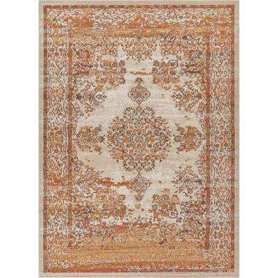 Firenze Cannes Earth 8 ft. x 10 ft. Modern Vintage Medallion Artisan Thin Area Rug