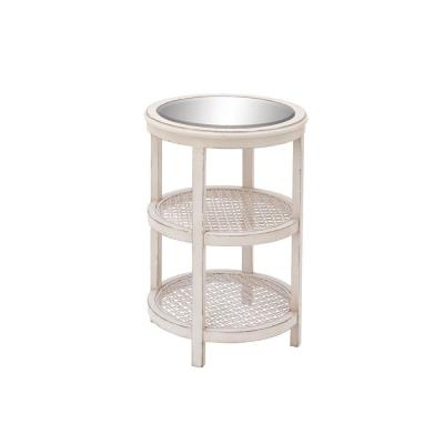 Vintage White 3-Tier Round Accent Table