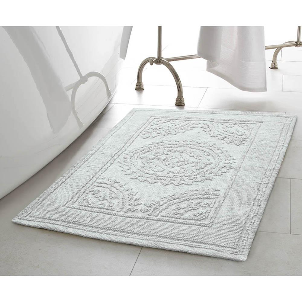 New Aqua Cotton Medallion 2 Piece Bath Mat Carpet Shower