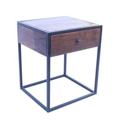 Wood Brown and Iron Black Contemporary Bed Side Table