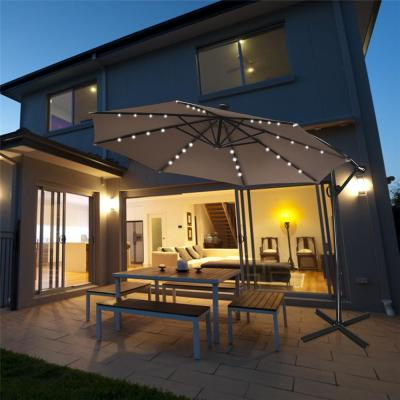 10 ft. Aluminum Offset Cantilever Solar Tilt Patio Umbrella LED Lights 360-Degrees Rotation Tan