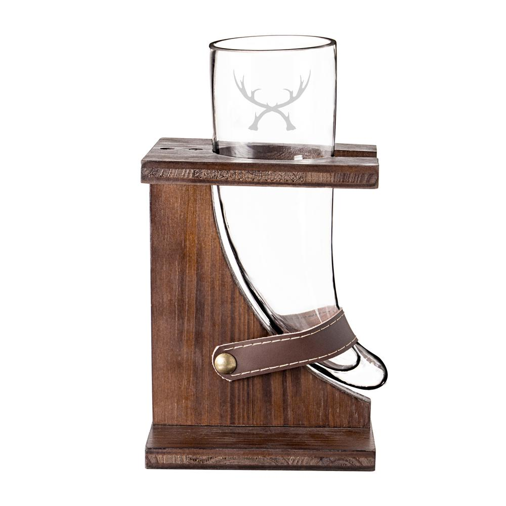 antler 16 oz glass viking beer horn with rustic wood stand - 16 Oz Glass