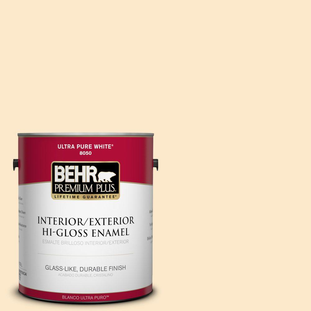 BEHR Premium Plus 1-gal. #YL-W2 Spanish Lace Hi-Gloss Enamel ...