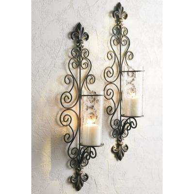 Antiqued Bronze Della Corte Wall Sconce (Set of 2)