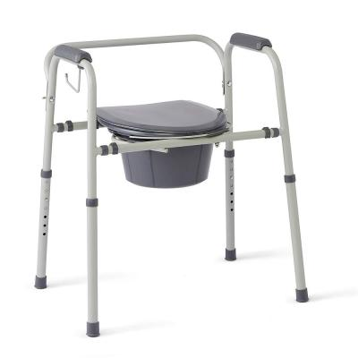 Steel 3-in-1 Bedside Commode, Portable Toilet with Microban Antimicrobial Protection