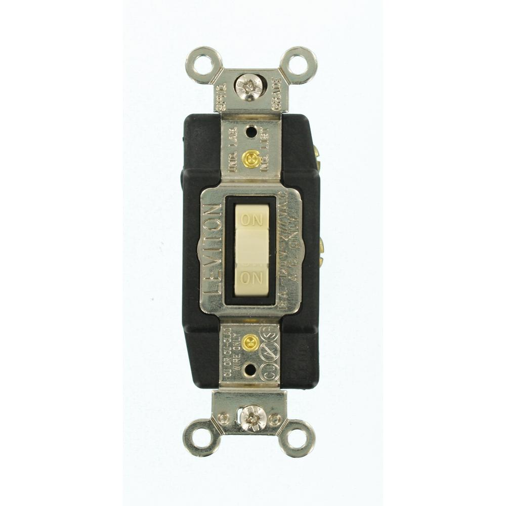 Leviton 15 Amp Illuminated Toggle Switch Clear R50 01461 0lc The Wiring A Lighted Light Industrial Grade Heavy Duty Single Pole Double Throw Center Off Momentary