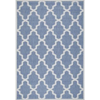 Machine Made Gina Outdoor Moroccan Trellis Blue 5 ft. x 8 ft. Area Rug