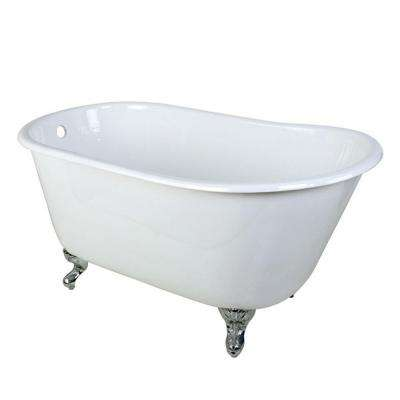 4.4 ft. Cast Iron Polished Chrome Claw Foot Petite Slipper Tub in White