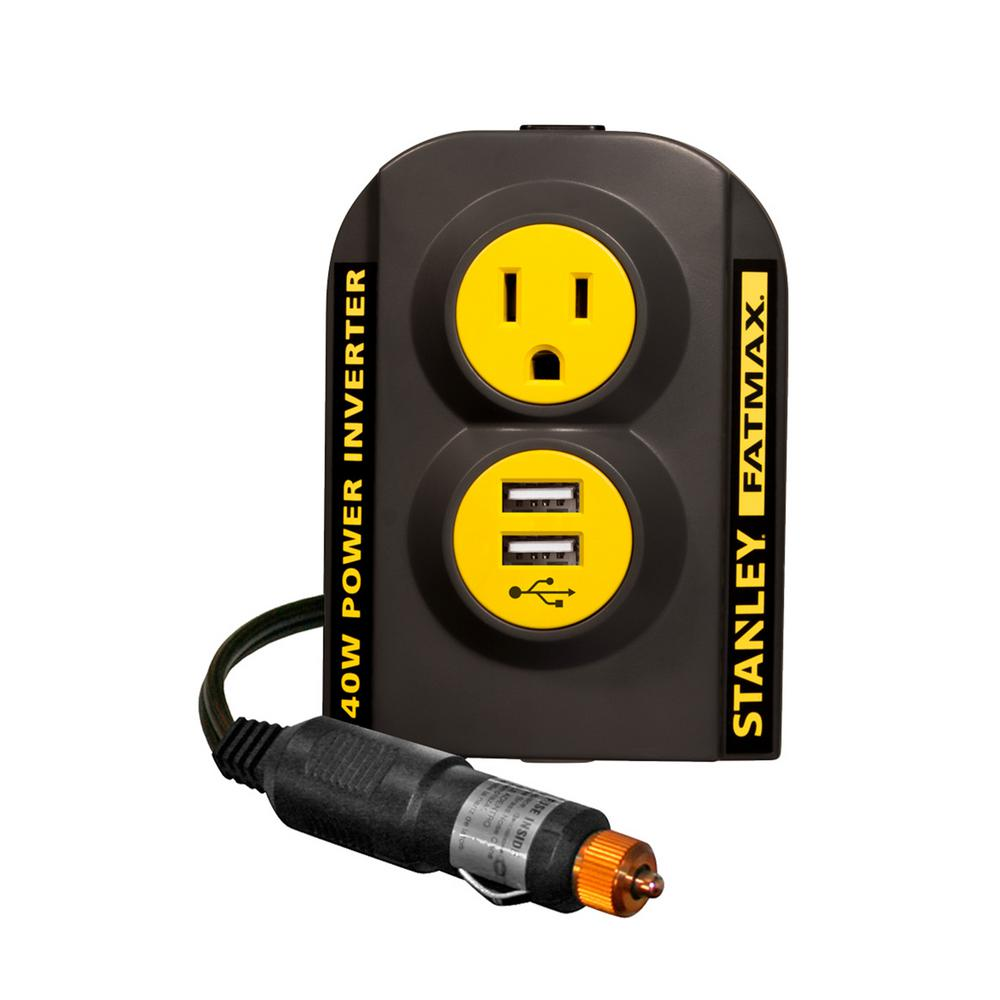 Stanley 140 Watt Power Inverter 12 Volt Dc To 120 Volt Ac Power Outlet With Dual Usb Ports Pci140 The Home Depot