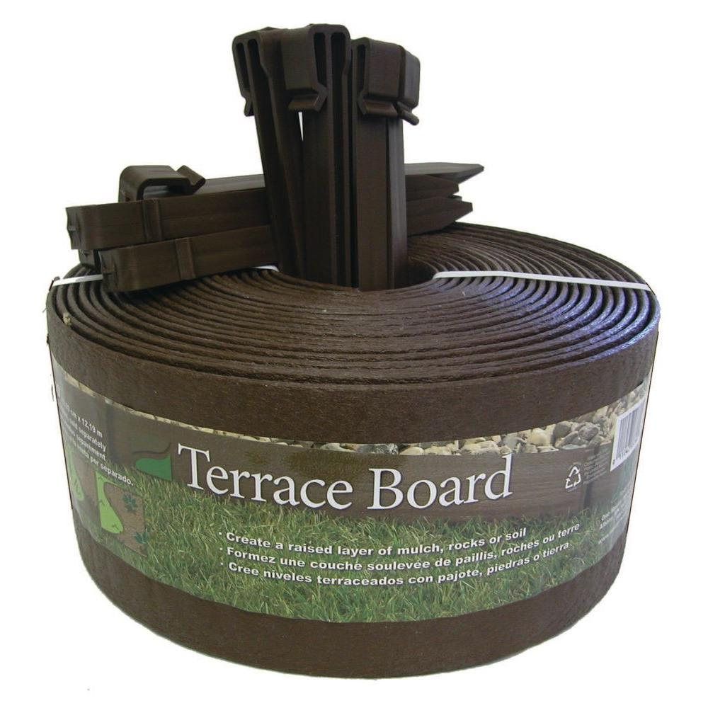 Terrace Board 4 in. x 20 ft. Brown Plastic Landscape Edging
