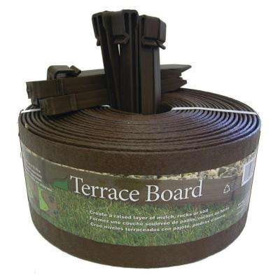 Terrace Board 4 in. x 20 ft. Brown Plastic Landscape Edging with Stakes
