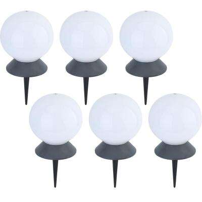 5.5 in. Solar Powered Integrated LED White Floating Pool and Path Light with Base (6-Pack)
