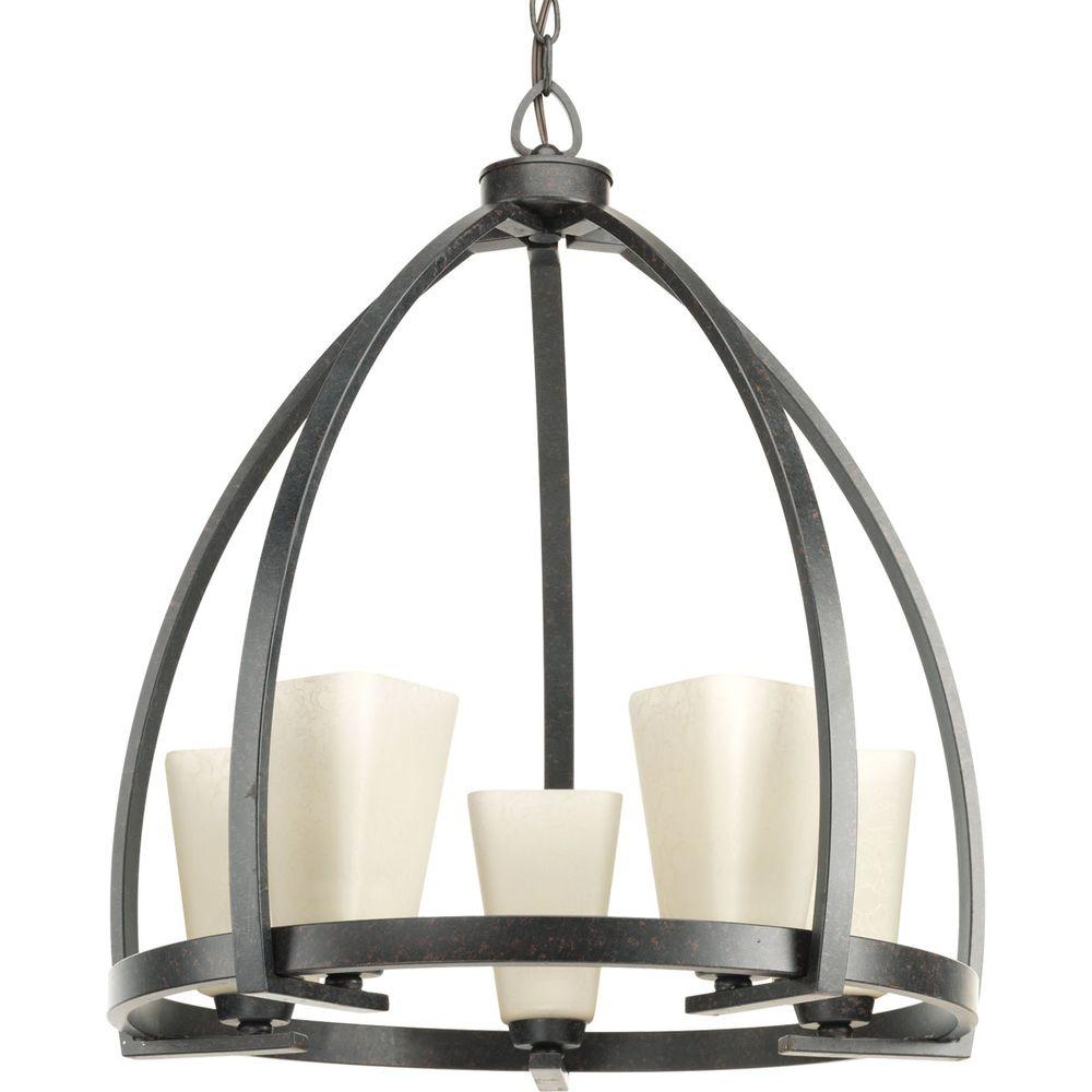 Progress Lighting Ridge Collection 5 Light Espresso Chandelier With Square  Etched Watermarked Glass Shade