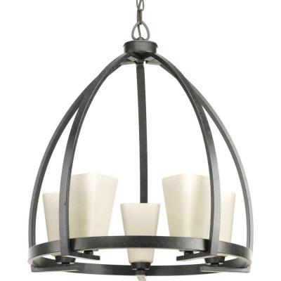 Ridge Collection 5-Light Espresso Chandelier with Square Etched Watermarked Glass Shade