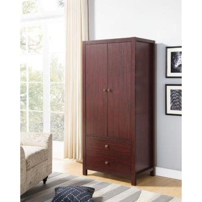 Commodious Cherry Brown 2-Magnet Closing Door Wardrobe with Inner Hanging Rail 20.75 in. L x 31.5 in. W x 70 in. H