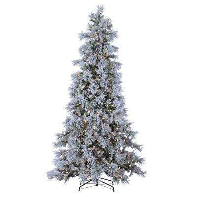 9 ft. Indoor Pre-Lit Lightly Flocked Snowbell Pine with 900 Cool White Twinkling Lights and 1647 Tips