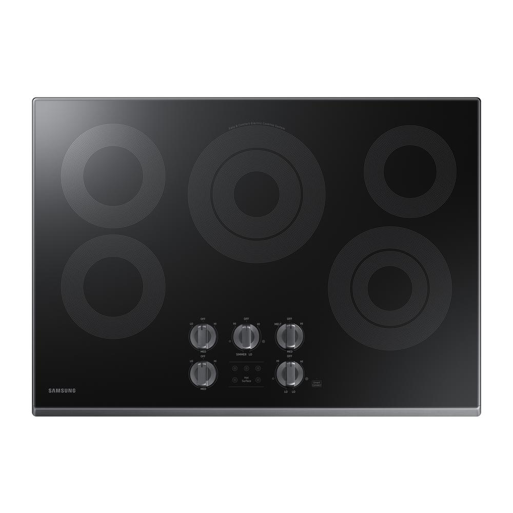 30 in. Glass Surface Electric Cooktop in Black Stainless Steel with